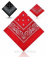 Paisley  Bandanna Headwear Hair Band Scarf Neck Wrist Wrap Headtie BLACK/RED