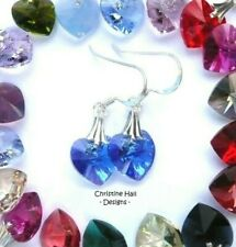 45 COLOURS - Sterling Silver CRYSTAL HEART Hook Earrings with SWAROVSKI ELEMENTS