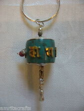 Tibetan Buddhism Turquoise Om Mani Mantra Prayer Wheel Pendant