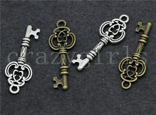 10/40/200pcs Tibetan Silver Beautiful Two-Sided Key Charms Pendant DIY 27x10mm