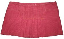Abercrombie & Fitch Women Cord Mini Skirt Rust Red Front & Back Pleats New $49