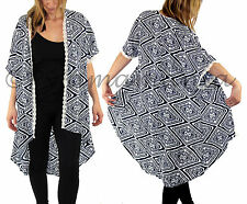 Ladies Summer Kimono Blouse Cardigan Navy Blue & Lace Sz 8 10 12 14 16