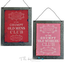 Grumpy Old Womens / Mens Club Metal Sign Vintage Chic Shabby Look - Funny Plaque