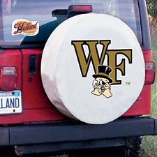 Wake Forest Tire Cover with Demon Deacons Logo on White Vinyl