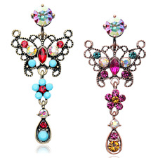 Vintage Boho Glistening Butterfly Belly Ring AB Fuchsia Copper Turquoise Sexy