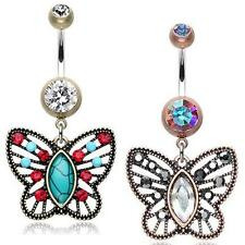 Vintage Boho Filigree Butterfly Belly Ring AB Clear Copper Turquoise Hematite