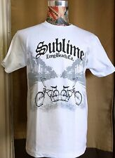 BRAND NEW BLACK & GRAY SUBLIME LONG BEACH CA W / 2 BICYCLES ~ WHITE SHIRT