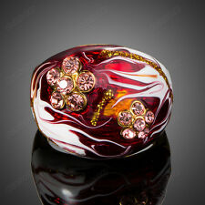 Fashion Oil Painting Gold Plated Austrian Crystal Women Enamel Flower Band Ring