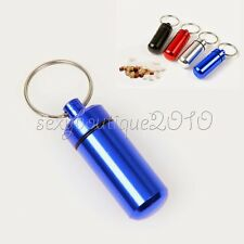 Metal Pill Medicine Box Case Holder Container Capsule Bottle Keyring Keychain