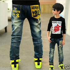 Autumn Spring Kids Boys Casual Blue Denim Trousers Fashion Pants Children Jeans