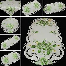 Rose Doily Table runner Topper Tablecloth White with Green Flower Embroidery NEW