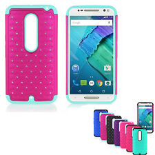Hybrid Rugged Rubber Bling Crystal Case Cover for MOTOROLA Moto X Style XT1575