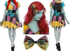 The Nightmare Before Christmas Sally Rag Doll Dress Wig And Bow Cosplay Costume