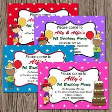 Personalised Boys Girls Twins Friends Birthday Party Invites & Envelopes - Stars