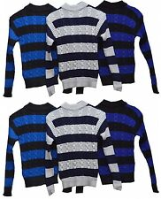 Boys Kids Winter Cable Knit Jumper Wool Pullover Top Sweater Polo Neck Hoodie