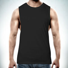 Muscle Tank Top Singlet T-shirt - PLAIN BLANK Raw Edge DEEP Cut Gym Tee Cotton N