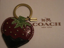 COACH CHOCOLATE DIPPED STRAWBERRY LEATHER CHARM KEY CHAIN KEY RING FOB - 92832