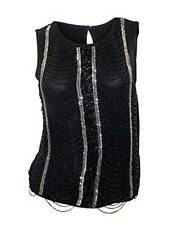Topshop Black Sleeveless Party Top Beaded on Front