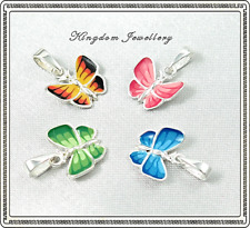 925 Sterling Silver Enamel Butterfly Pendants for Kids,Children,Ladies