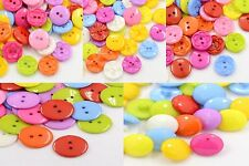 10 Acrylic Mixed Colour 2 Hole Buttons. 5 Styles Faceted,Shank,Flower. (BOX94)