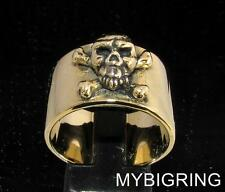 BRONZE MEN'S BAND RING JOLLY ROGER CROSSED BONES SKULL PIRATE ANTIQUED ANY SIZE