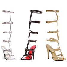 "ELLIE 510-SEXY Women's 5"" Stiletto Heel Knee High Strap Up Gladiator Sandal"