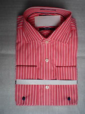 MENS 100% COTTON DOUBLE CUFF SLIM FIT SHIRT+LINKS: SALMON/WHITE STRIPES faMouS!!