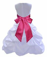ELEGANT NEW WHITE PICK-UP FORMAL FLOWER GIRL DRESS RECITAL PAGEANT BUBBLE STYLE