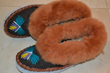 Ladies Womens Sheepskin Moccasin Boot Shoes Slipper Warm Wool Made In Poland New