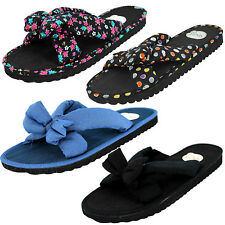 LADIES SPOT ON FABRIC BOW FRONT SLIP ON MULE FLIP FLOP SUMMER SANDALS
