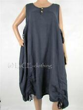 NEW Italian Linen Oversize Tie-up Lagenlook Knee Length Dress
