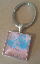 Personalised keyring Mens Dad daddy Finger/Hand/Foot prints fathers day gift