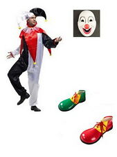 Adult CLOWN COSTUME Fancy Dress Halloween Circus Party Funny Mens Mask Shoes S
