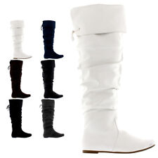 Ladies Flat Casual Country Zip Riding Over The Knee Winter Thigh Boots All Sizes