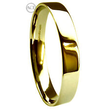 3mm 750 3.9g UK Hallmarked 18ct Yellow Gold Flat Court Wedding Band Ring H-Q