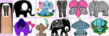 60x ELEPHANT Nail Art Decals + Free Gems Animals Lucky Trunk Up