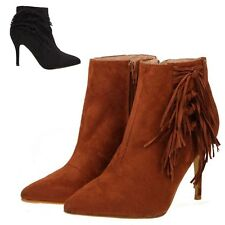 Womens Sexy Faux Suede Mid Stiletto Heel Zip Up Tassel Fringe Short Ankle Boots