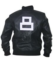 Mens New Black Genuine Leather 8 Ball Bomber Jacket