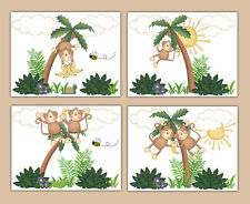 Monkey Prints Wall Art Baby Boy Girl Safari Jungle Animals Zoo Nursery Kids Room