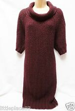 BNWT NEXT new Ladie Burgundy Chunky knit jumper dress longline tunic SMALL 8