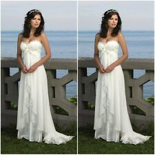 Cheap White Chiffon Beach Wedding Dress Bead Bridal Gown Size 2 4 6 8 10 12 14++