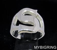 STERLING SILVER MEN'S INITIAL RING ONE 1 BOLD CAPITAL BLOCK LETTER S ANY SIZE