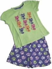 Pyjamas Girls Summer Short Pjs Set (Sz 4) Green Purple Cats Sz 3 4 5 6 7