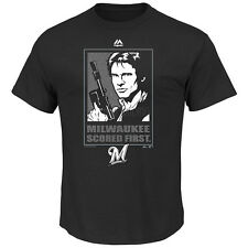 NWT Majestic Milwaukee Brewers Black Star Wars Han Solo Scored First T-Shirt Tee