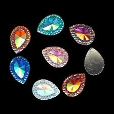 100p 13x18mm Resin Rhinestones Tear drop Cabochons Flatback Resin Stone Beads