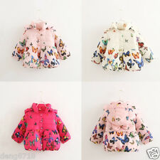 2015 Kids Girls Warm Jacket Winter Coat Thick Outerwear Butterfly Casual Hoodies