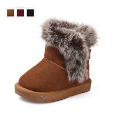 Genuine leather kids snow boots baby girls and boys Cute toddler ankle boots