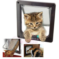 White/ Brown Frame TWO WAY Lockable Pet Cat Small Dog Flap Door S/M/L SIZE