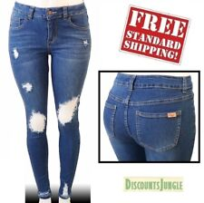 Sexy WOMEN'S Slim Distressed Skinny Light Blue Wash Ripped Destroyed Denim Jeans