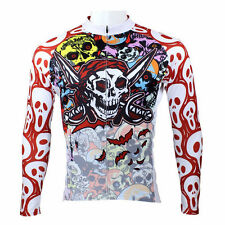 Color Pirate skull Cycling Clothing Bike Bicycle Long Sleeve Ciclismo Jersey Top